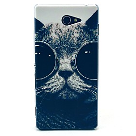 Sunglass Cat Pattern Clearly PC Hard Case for Sony Xperia M2 S50h