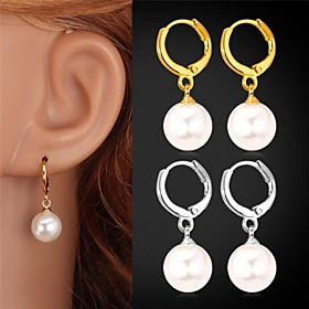 Women's Pearl Drop Earrings Pearl Imitation Pearl Platinum Plated Earrings Ladies Birthstones Jewelry Silver / Golden For Wedding Party Daily Casual Sports Mas