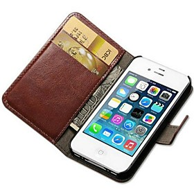 Crazy Horse PU Leather Full Body Case with Card Slot and Stand for iPhone 4/4S (Assorted Colors)