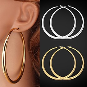 Women's Hoop Earrings - Platinum Plated, Gold Plated Statement, Simple Style Silver / Golden For Wedding Party Gift