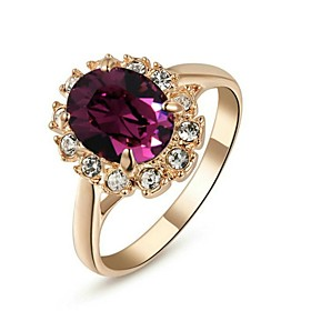 Women's Amethyst Simulated Statement Ring Crystal Gold Plated Ladies Fashion Ring Jewelry Purple For Wedding Party Daily Casual Masquerade Engagement Party 6 /