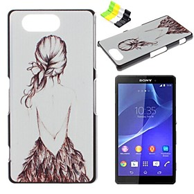 Girl Pattern PC Hard Case and Phone Holder for Sony Xperia Z3 Compact/Z3 mini