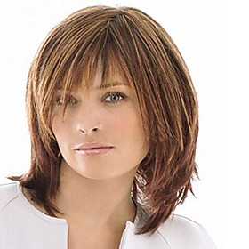 Capless Mix Color Medium Length High Quality Natural  Straight Hair Synthetic Wig with  Full Bang 2559637