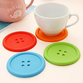 1 Pc Silicone Confectionery Button Cup Mat With A Single Round Heat Insulation Pad 2566604