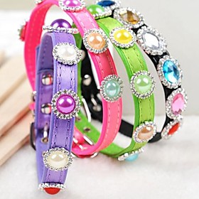 Adjustable Pu Leather Chiffon Colourful Bead Decorated Collar For Pet Dogs(assorted Colours)