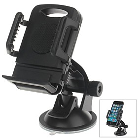 H01 180 Degree Rotation Suction Cup Holder with C66 4~5.4 Inch Back Clip Bracket for iPhone4, 5, 5s (Black) 2708342