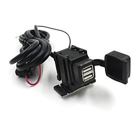 2 USB Motorcycle Mobile Waterproof Splashproof Power Supply Port Socket Charger 2859296