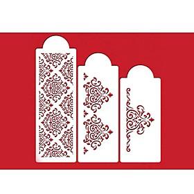 FOUR-C Flower Stencil for Cake Decorating Side Decor Color White,3 PCS/Set 2816837