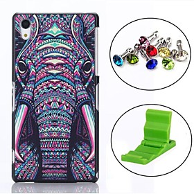 Elephant Pattern PC Hard Back Cover Case with Anti-dust Plug and Stand for Sony Z2