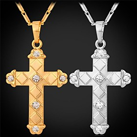 Men's Women's Pendant Necklace - Rhinestone, Platinum Plated, Gold Plated Cross Fashion Silver, Golden Necklace Jewelry For Wedding, Party, Daily
