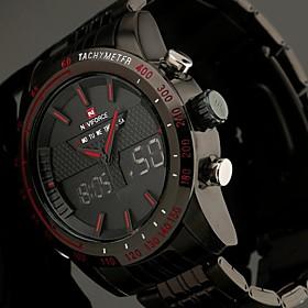 NAVIFORCE Men's Full Steel Sport Watch Japanese Quartz Analog-Digital LED/LCD/Multifunctional/Water Resistant/Alarm Military Cool Watch Unique Watch 2828795