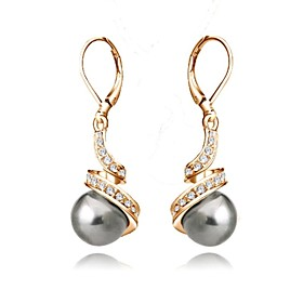 Women's Crystal Drop Earrings - Crystal, Imitation Pearl, Gold Plated Basic White / Black For Wedding Party Daily / Gray Pearl / Black Pearl