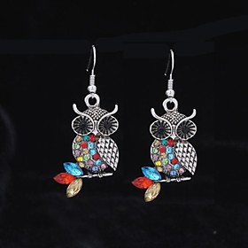 Women's Synthetic Diamond Drop Earrings Rhinestone Earrings Owl Animal Jewelry Green / Red For Wedding Party Daily Casual Sports