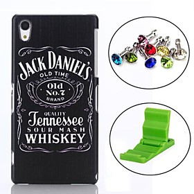 Beer Whiskey Pattern PC Hard Back Cover Case with Anti-dust Plug and Stand for Sony Z2