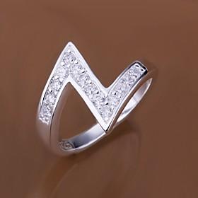 Women's Statement Ring - Sterling Silver, Zircon, Cubic Zirconia Luxury 7 / 8 For Wedding Party Daily / Imitation Diamond / Rhinestone