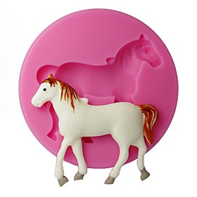 FOUR-C Silicone Cupcake Mold Horse Embossing Mould Cupcake Decoration Color Pink 2848139