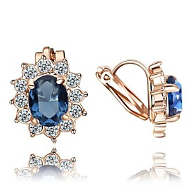 Women's Crystal Clip Earrings - Crystal, Zircon, Cubic Zirconia Flower Red / Blue For Wedding Party Daily / Gold Plated