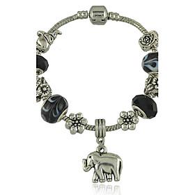 Women's New Black Murano Glass Bead Bracelet With Tibetan Silver Elephant Charm DIY Bracelet Jewelry 3029539