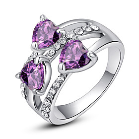 Women's Crystal Cluster Statement Ring - Imitation Diamond, Alloy Heart, Love Classic, Fashion One Size Purple / Rainbow / Transparent For Party