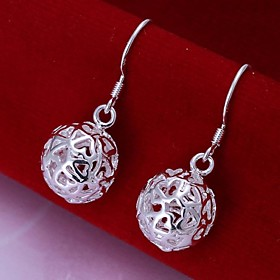 Women's Hollow Out Ball Drop Earrings Sterling Silver Earrings Ladies Jewelry For Wedding Party Daily Casual
