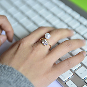 Women's Band Ring - Pearl, Rhinestone, Imitation Diamond Luxury Adjustable Silver For Wedding Party Daily / Alloy