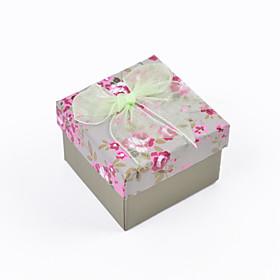 Elegant Flora Print Lace Bow Paper Square Box 3121896