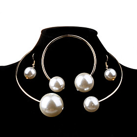 Women's Pearl Jewelry Set - Pearl, Imitation Pearl Ball Fashion, Elegant, Bridal Include Silver / Golden For Wedding Party Birthday / Earrings / Necklace / Ove
