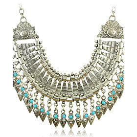Women's  Necklaces with Silver and Turquoise Beads Tassel Pendants of New Arrival Bohemia Style Vintage 3049198