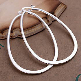 Women's Hoop Earrings Silver Plated Earrings Statement Ladies Fashion Jewelry Silver For Party Daily Casual