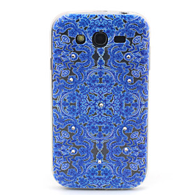 Samsung Galaxy Grand Neo I9060 Compatible Blue Flowers Figure with Diamante Design TPU Soft Back Cover Case 3115961