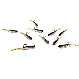"""5 pcs Leurre souple leurres de pêche Appâts souples Leurre souple Shad Noir 6 g/1/4 Once,70 mm/2-3/4"""" pouce,Plastique souple Silicone"""