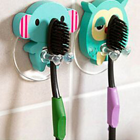 Wooden Cute Cartoon Animal Toothbrush Holder Suction Cup Bathroom Sets Hooks 3021387