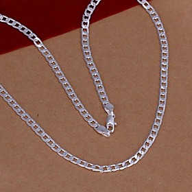 Chain Necklace - Silver Plated Fashion Silver Necklace Jewelry For Wedding, Party, Daily / Sterling Silver