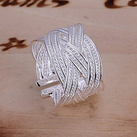 Women's Statement Ring - Silver Plated Folk Style Adjustable Silver For Wedding Party Daily