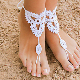 Crochet Barefoot Sandals,Beach Pool Wear,Accessories, Fashion Accessory,Toe Ring Anklet, Ankle Bracelet(1Pair) Christmas Gifts 3206218