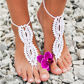 Crochet Barefoot Sandals,Beach Pool Wear,Sexy Accessories, Fashion Accessory,Toe Ring Anklet, Ankle Bracelet(1Pair) 3206221