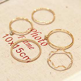 Women's Imitation Diamond Alloy Ladies Personalized Fashion Ring Jewelry Golden For Daily Casual 8 / Rhinestone