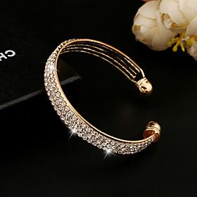 Crystal Cuff Bracelet - Rhinestone, Imitation Diamond, 18K Gold Vintage, Party, Work Bracelet Gold / Silver For / Austria Crystal