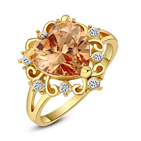 Women's Crystal Statement Ring - Imitation Diamond, Alloy Love, Heart, Fashion One Size Red / Champagne For Wedding Party