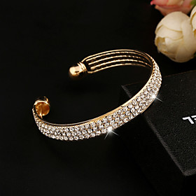 Women's Crystal Tennis Chain Bracelet Bangles Cuff Bracelet Tennis Bracelet - Crystal, Imitation Diamond Bracelet Silver / Golden For Wedding Party Daily