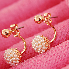 Women's Pearl Stud Earrings - Pearl, Imitation Pearl Ball Fashion, Bridal Screen Color For Wedding Party Daily