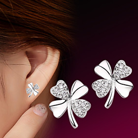 Women's Cubic Zirconia Stud Earrings - Sterling Silver, Silver Flower Simple Style, Fashion Silver For Wedding Party Daily
