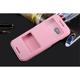 For HTC Case with Stand / with Windows / Flip Case Full Body Case Solid Color Hard PU Leather for HTCHTC One M9 / HTC One M7 / HTC One M8 3652618