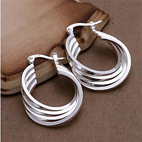 Women's Hoop Earrings Sterling Silver Earrings Ladies Personalized Fashion Jewelry White For Wedding Party Daily Casual 2pcs