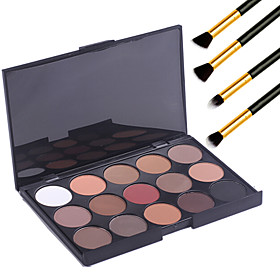 15 Colors  Eyeshadow Palett Professional Warm Makeup Nude Eyeshadow Matte Shimmer Palette Cosmetic4PCS Pencil Makeup Brush 3778801