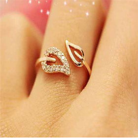 Women's Open Cuff Ring Adjustable Ring Cubic Zirconia Rhinestone Gold Plated Leaf Ladies Simple Basic Fashion Ring Jewelry Gold / Silver For Wedding Masquerade