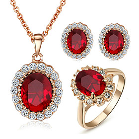 Women's Crystal Synthetic Diamond Jewelry Set - Crystal, Cubic Zirconia, Imitation Diamond Birthstones Include Red For Wedding Party Daily / Rings / Earrings /