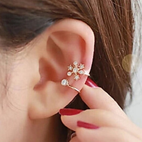 Women's Ear Cuff Rhinestone Earrings Ladies Jewelry Silver / Golden For Wedding Party Daily Casual