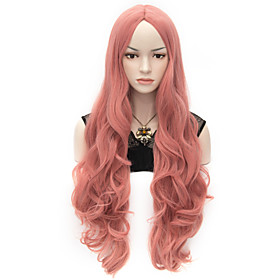 Wigs for Women Rose Pink Long Curly Costume Wigs Cosplay Wigs 3654457
