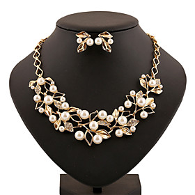Pearl Jewelry Set Rhinestone Statement, Ladies, Vintage, Party, Work, Casual Include Gold / Silver For / Earrings / Necklace